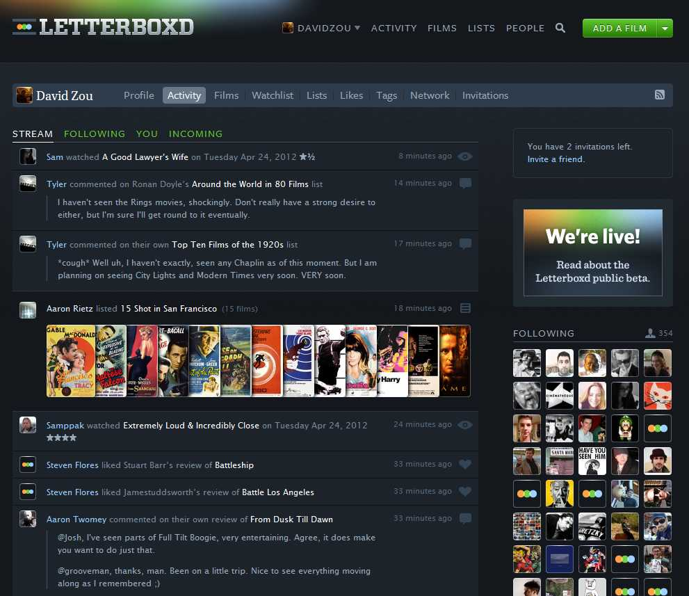 letterboxd activity