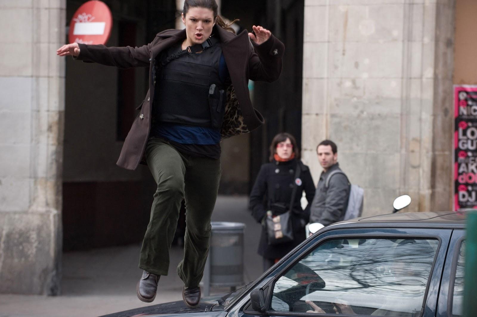 Haywire Gina Carano jumping over car