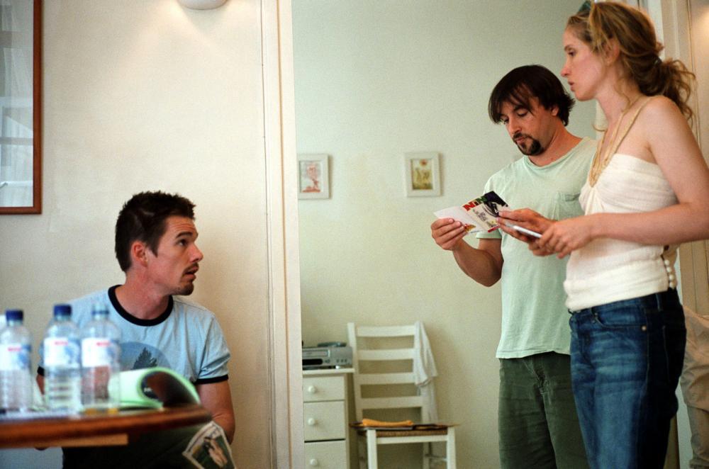 BEFORE SUNSET, Ethan Hawke, director Richard Linklater, Julie Delpy on set, 2004, (c) Warner Brothers