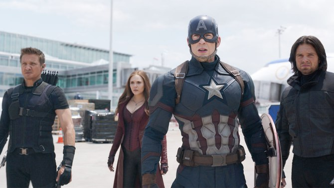 Marvel's Captain America: Civil War..L to R: Hawkeye/Clint Barton (Jeremy Renner), Scarlet Witch/Wanda Maximoff (Elizabeth Olsen), Captain America/Steve Rogers (Chris Evans), and Winter Soldier/Bucky Barnes (Sebastian Stan)..Photo Credit: Film Frame..© Marvel 2016