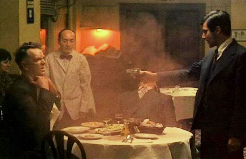 Screengrabs Michael-shoots-Sollozzo-and-McCluskey-from-The-Godfather
