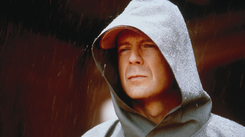 FILM: UNBREAKABLE. STARRING BRUCE WILLIS AS DAVID DUNN.