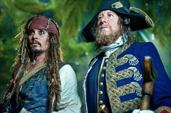 """""""PIRATES OF THE CARIBBEAN: ON STRANGER TIDES""""Captain Jack Sparrow (JOHNNY DEPP) and his old nemesis Captain Barbossa (GEOFFREY RUSH) are thrown together by fate in the search for the Fountain of Youth.Ph: Peter Mountain©Disney Enterprises, Inc. All Rights Reserved."""
