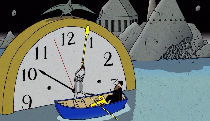 kujira-no-chouyaku-glassy-ocean-clock-windup-robot-gondolier-pterodactyl-water-old-man-boat