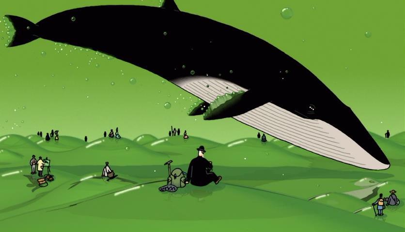 kujira-no-chouyaku-glassy-ocean-whale-jumping-old-man-crowd-gathering-carnival-mid-air-landscape